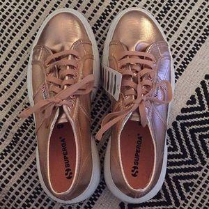 Rose gold platform Superga sneakers